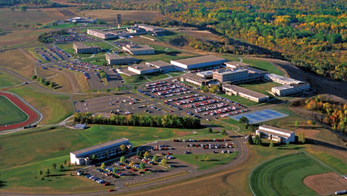 Aerial photo of the U-Mary campus